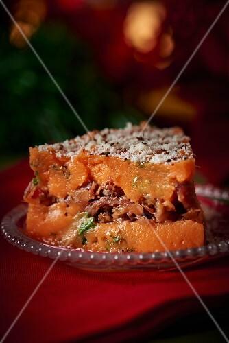 Slice of pumpkin bake for Christmas dinner