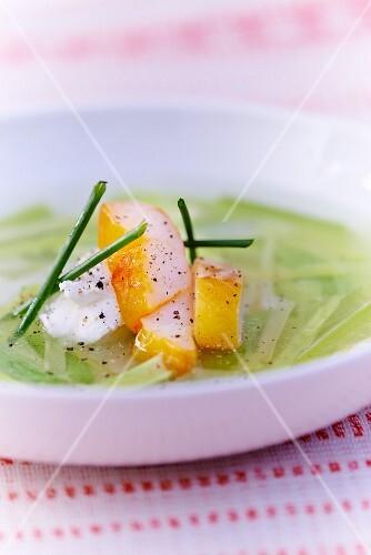 Leek soup with haddock and mascarpone