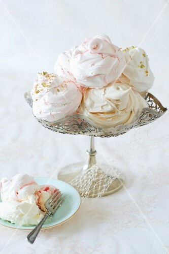 Meringues on a silver stand