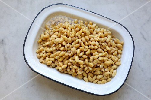 Soaked organic soya beans in an enamel tub on a marble surface