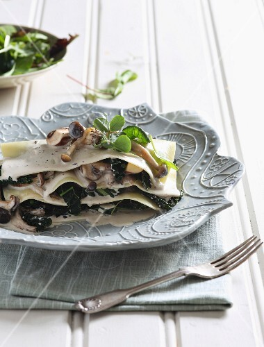 An autumnal lasagne with wild mushrooms, truffles and cabbage