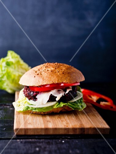 A beetroot burger with peppers
