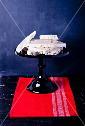 White nougat on a cake stand