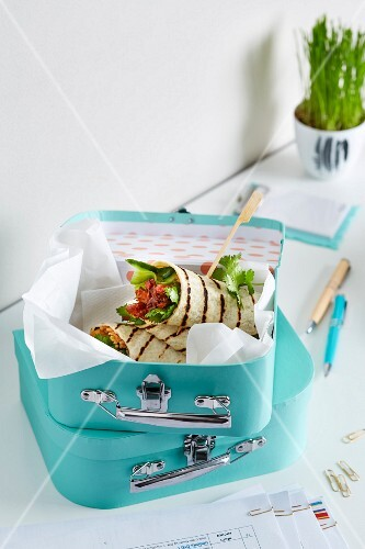 Chicken rice and cucumber wraps