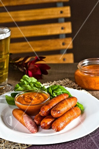 Smoked sausage with homemade tomato sauce