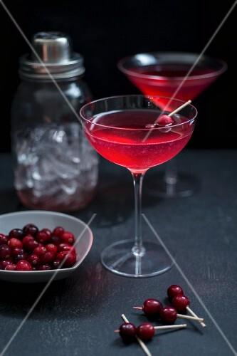 Cranberry and gin cocktail with St Germain in a Martini glass