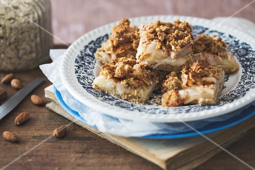 A wholemeal apple tray bake cake with almond and oat crumbles