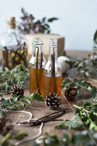 Homemade vanilla extract in small glass bottles