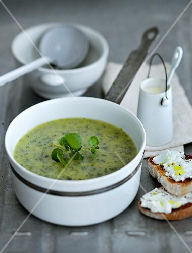 Cream of leek soup with cream cheese crostini