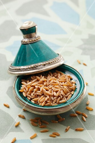 Kamut in a turquoise dish