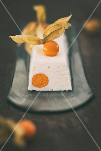 Yoghurt terrine with physalis