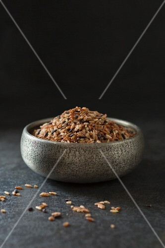 A bowl of mixed purple rice