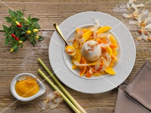 Coconut panna cotta with a mango and lemon grass sauce