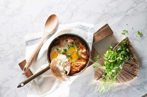 Shakshuka (poached eggs in tomato sauce, North Africa)