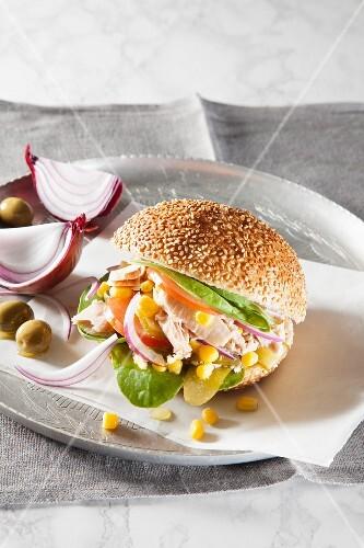 Tuna fish burger with sweetcorn