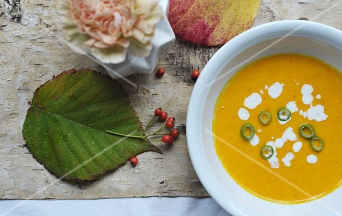 Autumnal pumpkin soup with chilli rings