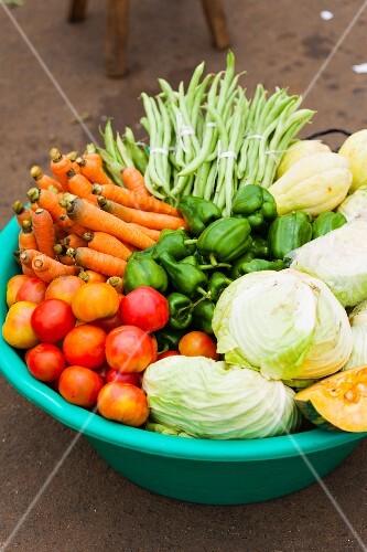A large bowl of vegetables