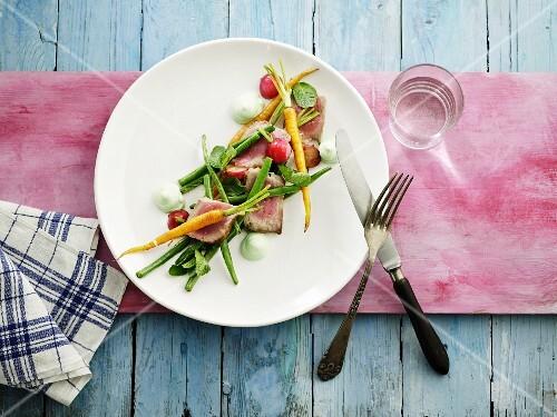 Vegetable salad with pork fillet