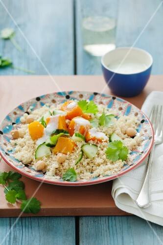 Couscous with butternut squash, chick peas, cucumber, cumin and coriander with a mint yoghurt dressing