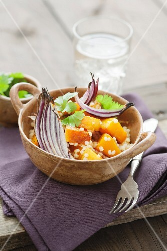 Couscous with butternut squash, roasted red onions and coriander