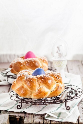 Two traditional Easter nest breads