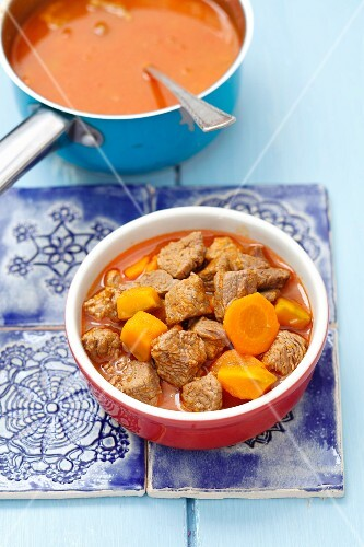 Beef goulash with pumpkin and carrots for dogs