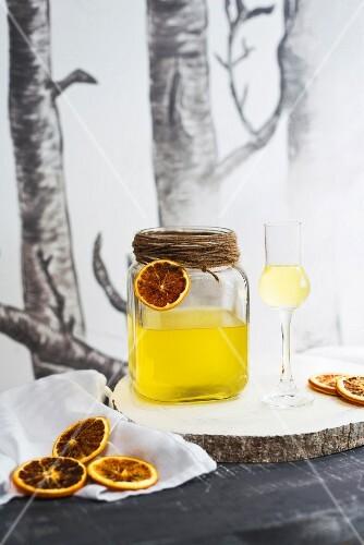 Homemade citrus liqueur for Christmas