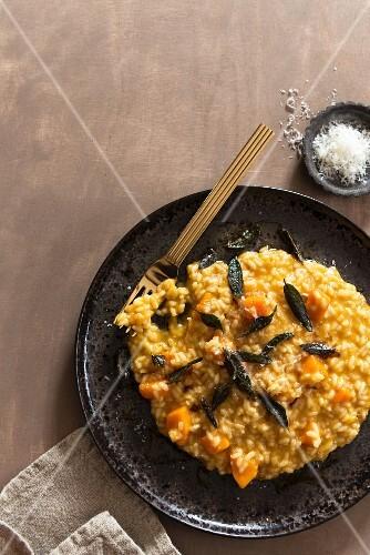Bowl of Pumpkin Sage Risotto; Fork