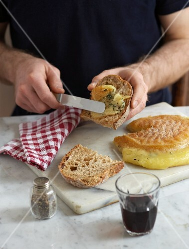 Bread with baked Gubbeen cheese