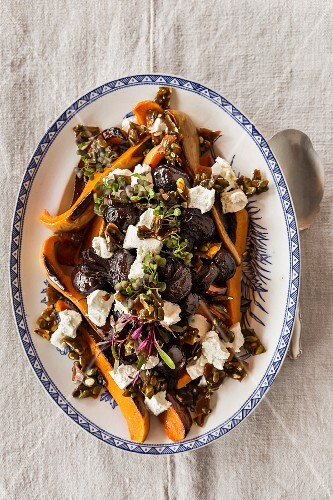 Oven-baked beetroot and pumpkin with caramelised pumpkin seeds