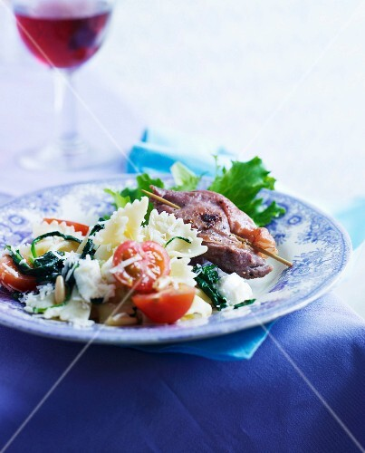 Veal escalope with sage and farfalle pasta