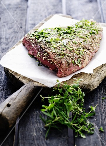 Cap of beef rump with herbs
