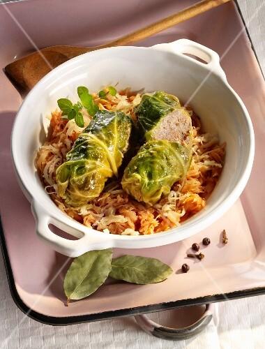 Savoy cabbage roulade with sauerkraut