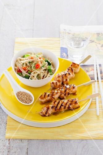 Teriyaki chicken skewers with a mie noodle salad (Japan)