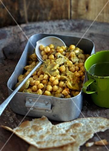 Chickpeas with mushrooms (India)