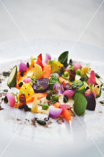 'Old country' vegetables with a chamomile and olive emulsion at Hotel Severin's Resort & Spa, Keitum, Sylt