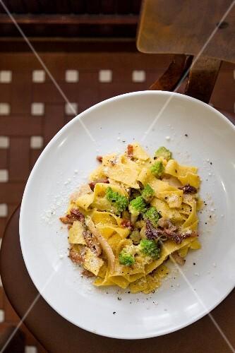 Fiori d'inverno made with pappardelle, bacon, pecorino and Romanesco broccoli at the restaurant Trattoria Morgana, Rome