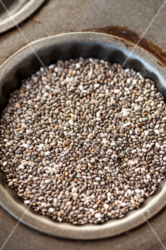 Chia seeds in a baking tin (seen from above)
