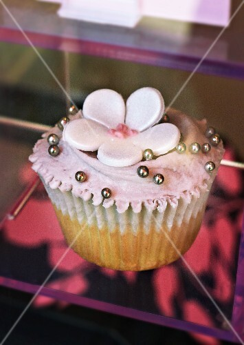 A cupcake for teatime in a restaurant