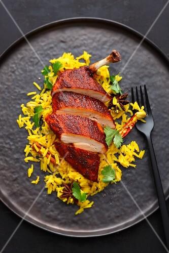 Tandoori chicken with spicy pilau