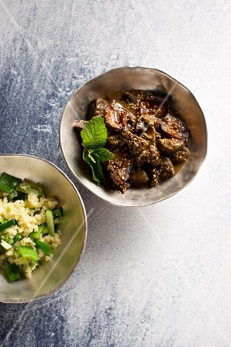 Game ragout with damsons and green couscous (Syria)