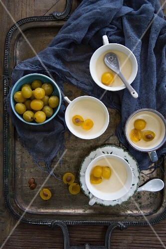 Panna cotta with yellow plums