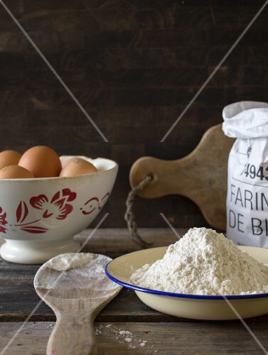Still life with eggs and flour