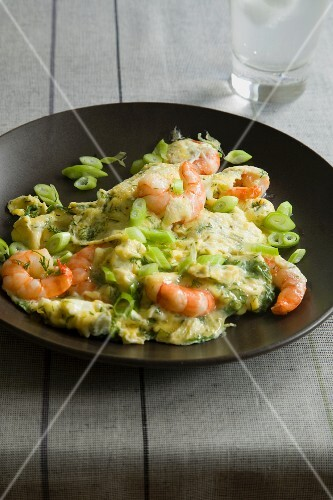 Prawn and spring onion omelette