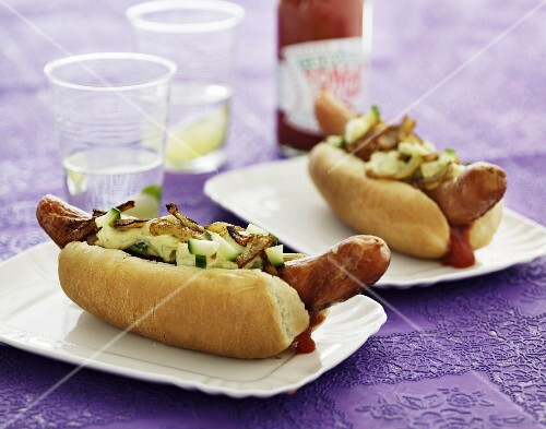Hot dogs with onions and cucumber relish