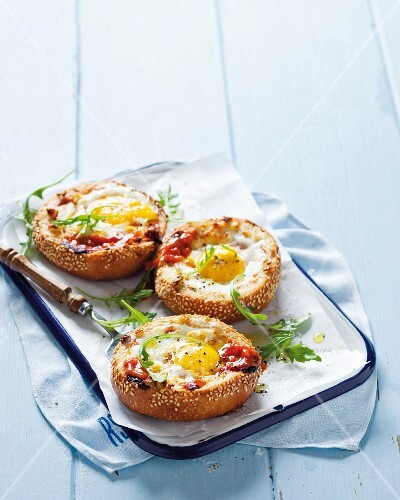 Toasted rolls top with eggs and relish