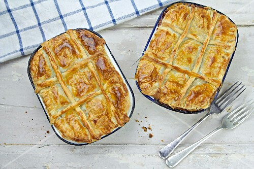 Beef pies with puff pastry lids (seen above)