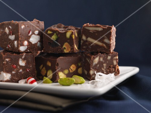 Candy cane fudge and pistachio nut fudge