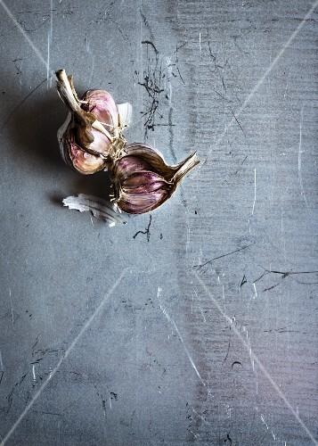 Garlic on a grey surface