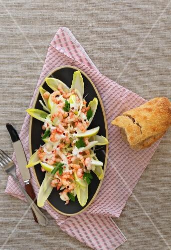 Prawn salad with fennel and parsley